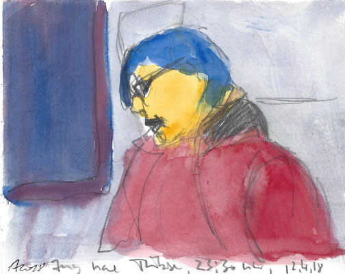 Im Zug, 2018, Aquarell und Bleistift, 12 x 15 cm