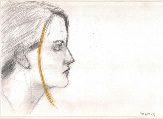 A., 2014, Bleistift und Aquarell, 21 x 29,7 cm
