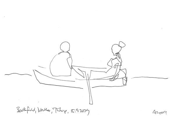 Bootsfahrt, 2019, Tusche, 21 x 29,7 cm