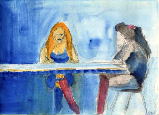 Ungleiche Schwestern, 2015, Aquarell und Bleistift, 21 x 29,5 cm