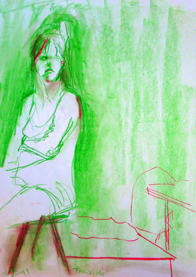 Franziska, 2013, Pastellkreide auf Papier, 59 x 42 cm