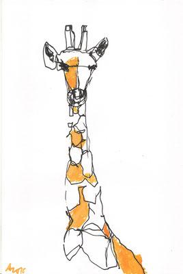 Giraffe (nach einer Skulptur eines unbekannten Künstlers aus Simbabwe), 2015, Tusche, 29,7 x 21 cm