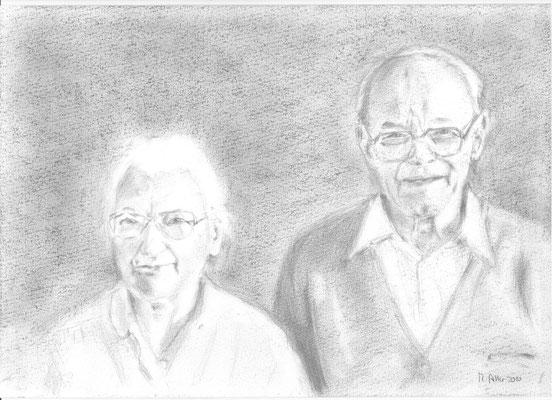 Frieda und Wilhelm, 2010, Bleistift,, 21 x 29,7 cm