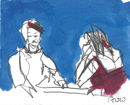 Gespräch, 2020, Bleistift und Tusche, 12 x 15 cm