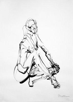 Ohne Titel, 2012, Tusche auf Papier, 59 x 42 cm