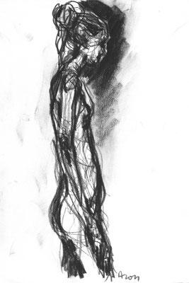 Akt, 2011, Kohle auf Papier, 29,7 x 21 cm