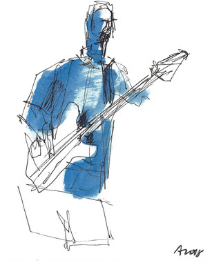 Blue Bass, 2018, Tusche, 15 x 12 cm