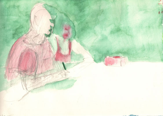 Ohne Titel, 2015,  Aquarell und Bleistift auf Papier,  21 x 29,5 cm