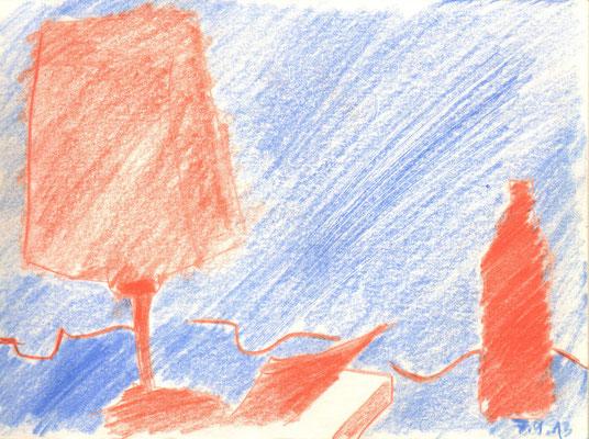 Lampe vor Blau, 2013, Buntstift, 15 x 21 cm