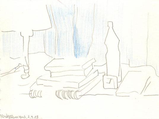 Abendstunde, 2013, Bleistift und Buntstift, 15 x 21 cm