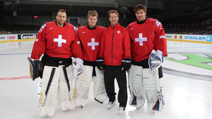 Daniel Mansato, Leonardo Genoni, Reto Schurch, Reto Berra, Swiss National Ice Hockey Team 2015