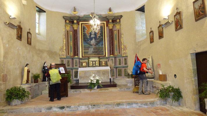Jacques et Thierry dans l'église de Larreule