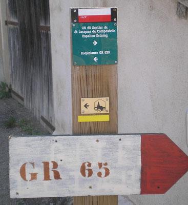 St Côme d'Olt - Croisement où nous avions quitté en 2011 le GR65