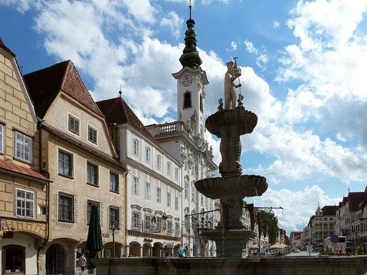 Brunnen und Rathaus in Steyr