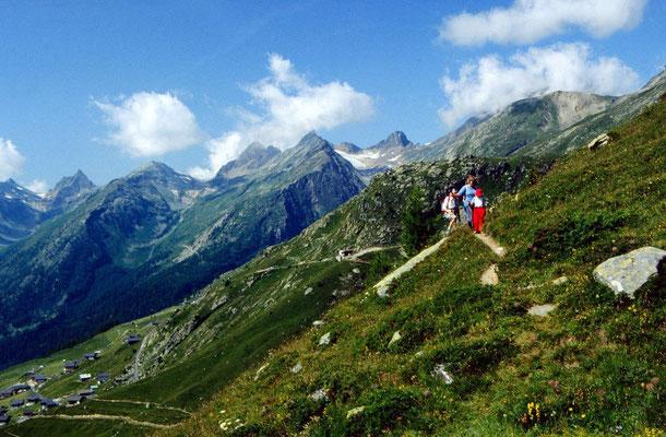 Auf dem Lötschentaler Höhenweg zwischen Lauchernalp und Weritzstafel unterwegs.