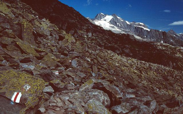 Der Plattenweg zum Tälligrat und Tällisee. Hinten Oberaarhorn 3637 m