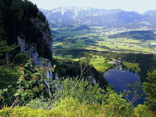 Blick von einem bewaldeten Felsrücken bei der Tommerlalm auf Gleinkersee, Windischgarsten und Sengsengebirge