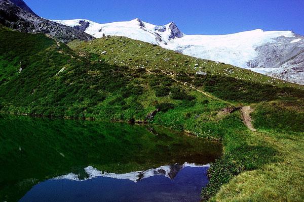 Der Salzbodensee in der grasbewachsenen Seitenmoräne