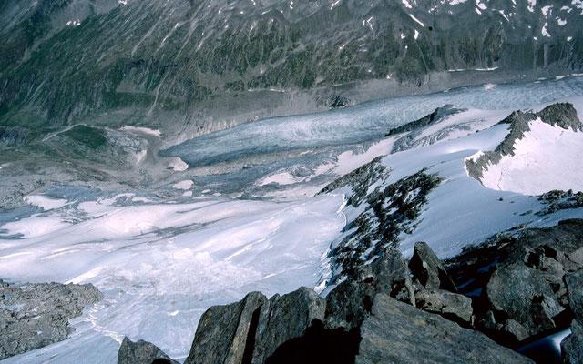 Lawinenabgang in der Ostflanke des Keeskogels zur Gletscherzunge des Untersulzbachkeeses
