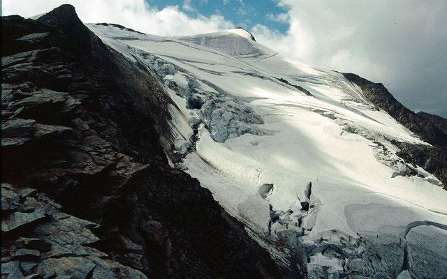 Blick vom Blockrücken in die steile vergletscherte Nordflanke des Wilden Freigers