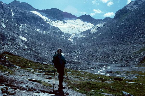 Seewjinengletscher vom Aufstiegsweg zum Monte Moro Pass