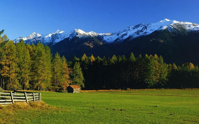Die ins Inntal abfallenden, schneebedeckten Ötztaler Alpen vom Mieminger Sonnenplateuweg