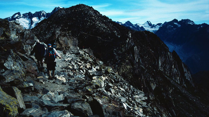 Am Gratweg zwischen Gipfelstation und Eggishorn