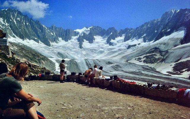 Glacier du Talefre von der Terrasse der Couverclehütte