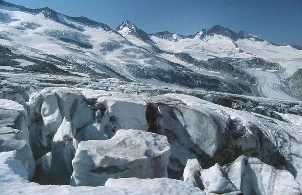Obersulzbachkees vom Eislabyrinth westlich der Anstiegsspur zum Großvenedige