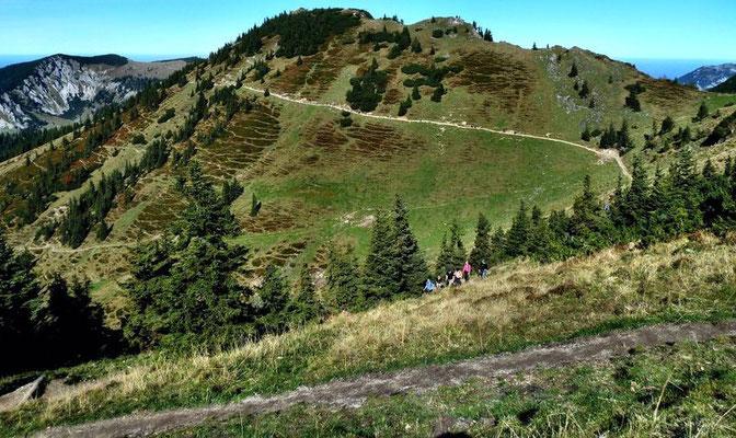 Leichtes Auf und Ab im Wegverlauf Taubensteinbahn-Bergstqation - Rotwand