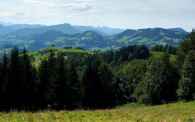 Schieferstein und die Berge zwischen Rabenreithkogel und Buchschachen bei Maria Neustift vom Freithofberg