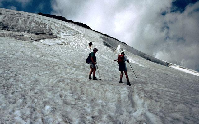 Schlussanstieg auf dem Gletscher zum Gipfelgrat des Wilden Freigers. Dabei ist der breite Bergschrund auf einer Schneebrücke zu überwinden.