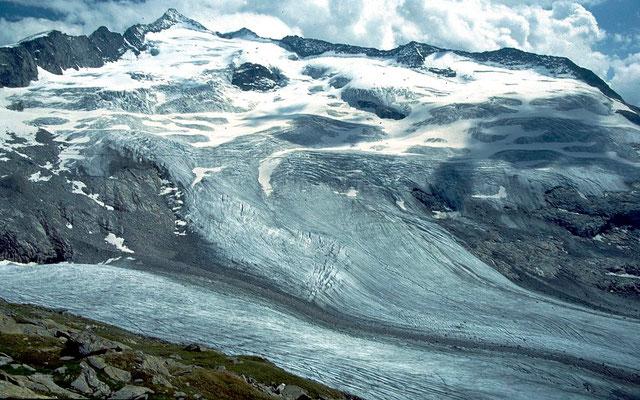 Die verschiedenen Gletscherarme des Obersulzbachkeeses im Jahr 2000