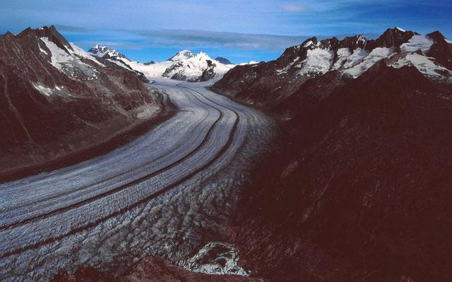 Aletschgletscher mit Jungfrau, Mönch und östlichem Seitenkamm