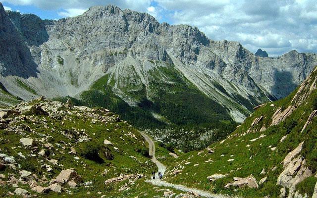 Weg Lesachtal - Wolayerseehütte vom Gebiet der Hütte