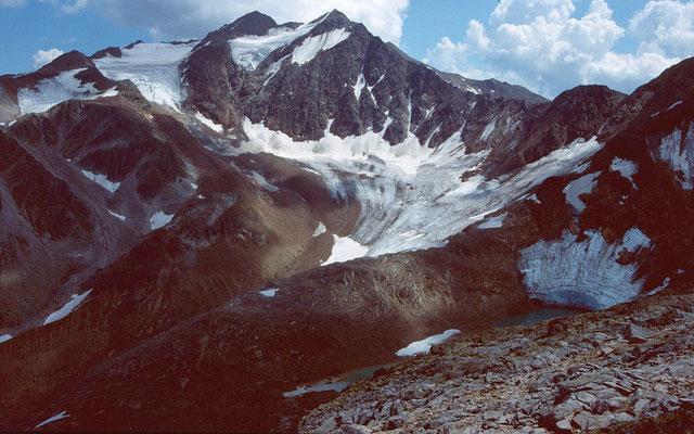 Feuersteine, Grüblferner und Gletscherrandsee vom Freiger-Anstieg