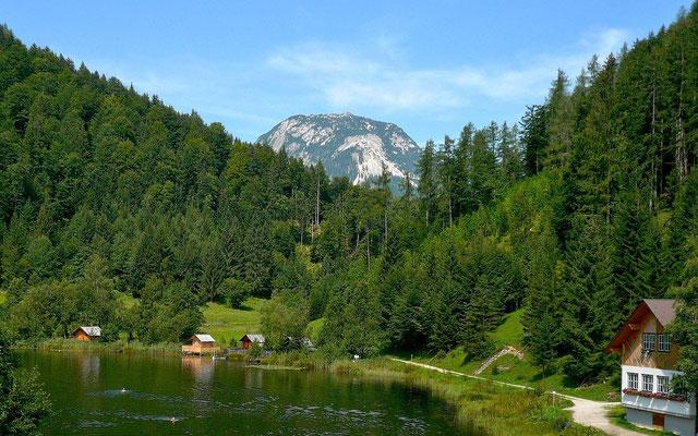 Badevergnügen im sommersbergsee. Im Einschnitt zwischen Ischlkogl und Sommersbergkogl der Sandling.l
