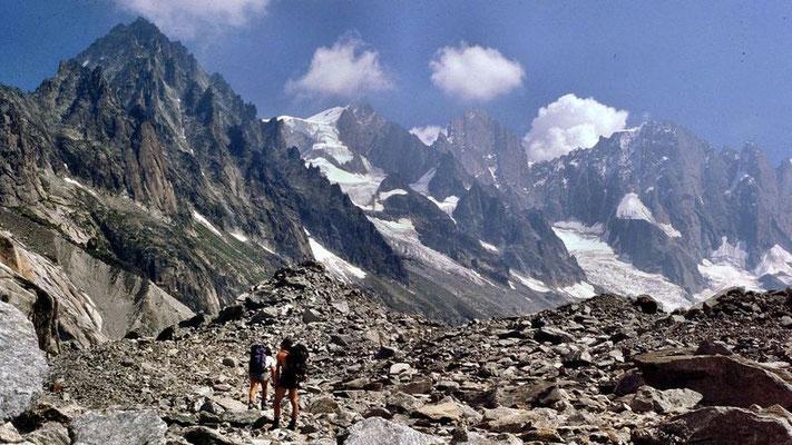 Im Blockwerk und Schutt des in das Mer de Glace einmündenden Glacier du Leschaux