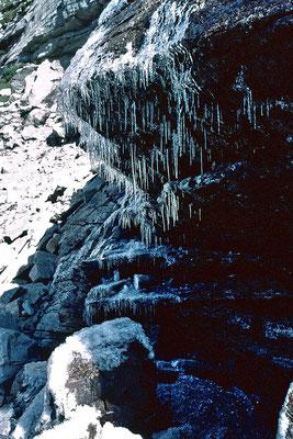 Lange Eisnadeln am teilweise mit Wassereis überzogenen Aufstiegspfad. Es war an diesem Tag sehr kalt.
