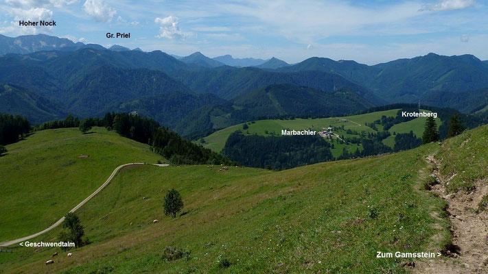Krotenberg und Nationalpark Kalkalpen vom Gebiet der Gschwendtalm