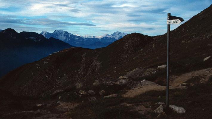 Wegweiser am Kühboden. Im Hintergrund Walliser Alpen