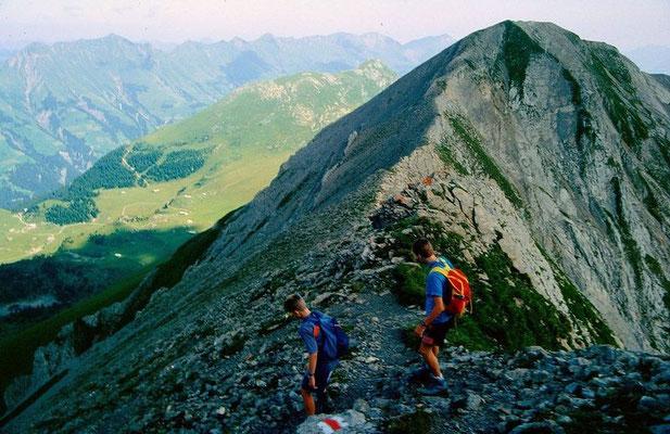 Abstieg vom First in steilerem Schuttgleände zum Stand. Trittsicherheit erforderlich.