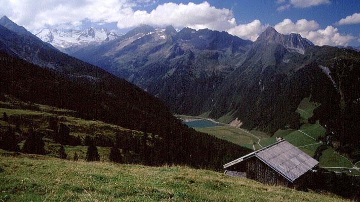 Wildgerlostal mit Finkau und Reichenspitzkamm vom Almgebiet unter dem Plattenkogel