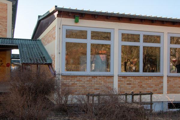 Hängender Nistkaten über dem Lehrerzimmer des Hauptgebäudes