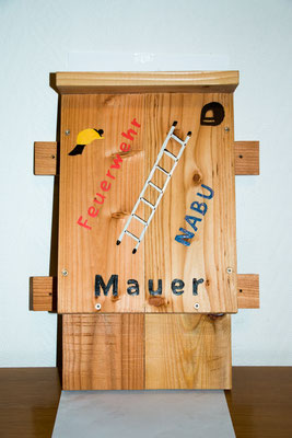 Der bemalte Fledermauskasten (Foto: B. Budig)