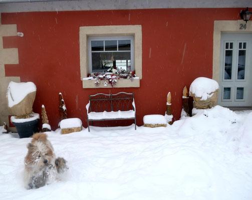 Endlich passt es - Weihnachtsdeko und Schnee :-).