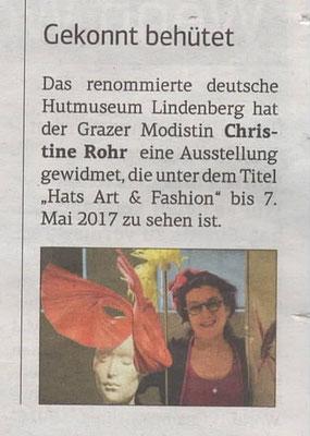Steirische Wirtschaft 2. Dezember 2016 - Christine Rohr Master Milliner
