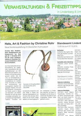 Westallgäuer November 2016 - Christine Rohr Master Milliner