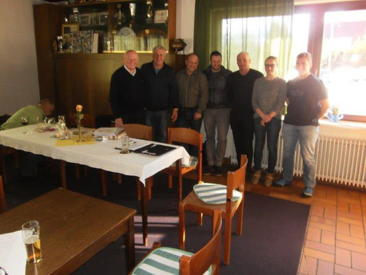 Vo. Li. Altobmann Kopetzky, Obmann Ortner Helmut, Bbm.Stv. Gstinig G. Maier M. Schwaberl J. Striednig A. Dr. Brunner A.