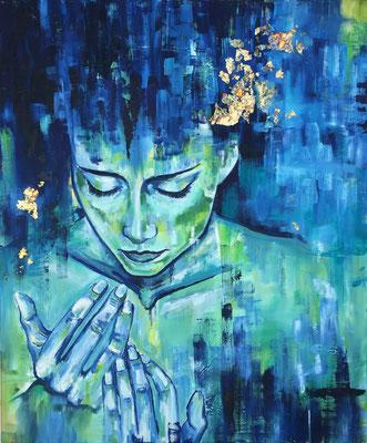 """blue woman"" Leinwandbild, Ölfarbe,  Größe XX x XX cm"
